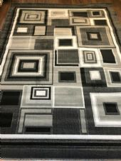 Modern Aprox 9x7FT 200cmX270cm New Rugs Woven Blocks Grey/Silver/Black Rug XXL